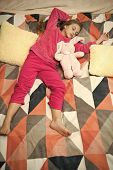 Small Girl Child Ready To Sleep. Time To Relax. Childhood Happiness. Pajama Party. Good Night. Littl poster