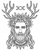 Animation Portrait Of The Young Man In A Wreath With Deer Horns.  Pagan God Cernunnos. Mysticism, Es poster