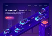 Unmanned Personal Car Neon Banner. People Safe Driverless Artificial Intelligent Auto Transport Syst poster