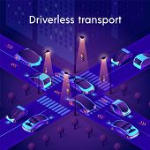 Driverless Transport Neon Banner. Autonomous Smart Cars Driving In City Traffic On Crossroad. Unmann poster