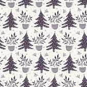 Seamless Pattern. Hand Drawn Stylized Christmas Tree. Fir Leaf Berries Plan. Green Background. Tradi poster