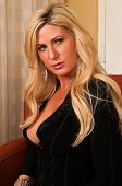 pic of blonde woman  - Beautiful mature blonde in a little black dress - JPG