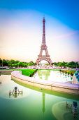 Paris Eiffel Tower And Trocadero Garden At Sunset In Paris, France. Eiffel Tower Is One Of The Most  poster