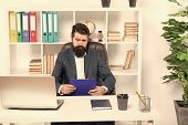 Check List. Man Bearded Hipster Boss Sit In Leather Armchair Office Interior. Boss At Workplace. Man poster