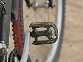 Mountain Bike Pedal Close-up, Concept Of Beginning To Move Forward poster