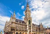 Marienplatz Square In Munich, Bavaria, Germany. Beautiful View Of Town Hall Or Rathaus. It Is A Famo poster