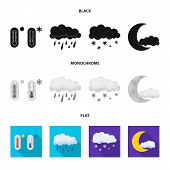 Vector Design Of Weather And Climate Icon. Set Of Weather And Cloud Stock Symbol For Web. poster