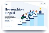 Web Page Flat Design Template For Achievement Goals. Business Landing Page Online With Info On How T poster