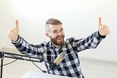 Radio Host Streamer And Blogger Concept - Man Gesturing Thum Up Over White Background, Host At Radio poster