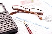 stock photo of reimbursement  - Blank application for life insurance with fountain pen - JPG