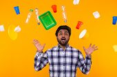 Plastic Recycling Problem, Ecology And Environmental Disaster Concept - Scared Indian Man Screaming  poster