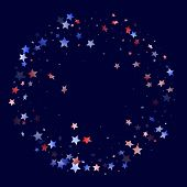 American Patriot Day Stars Background. Confetti In Us Flag Colors For Independence Day. Banner Red B poster