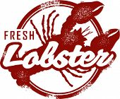 Vintage Style Fresh Lobster Stamp