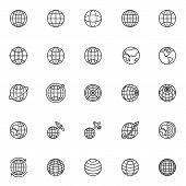 Globe Grid Line Icons Set. Linear Style Symbols Collection, Outline Signs Pack. Vector Graphics. Set poster