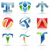 image of letter t  - Vector illustration of abstract icons based on the letter T - JPG