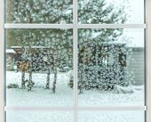 Winter Window, Drops Of Water And Snowflakes On A Window Pane. poster
