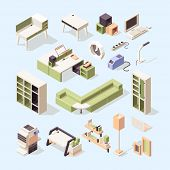 Business Furniture. Office Desk Chairs Wardrobe Bedside Table Isometric Vector Low Poly Furniture. O poster