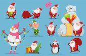 Santa Claus Set. Christmas Characters. Cute Santa, Polar Bear, Penguin Vector Illustration. Penguin  poster