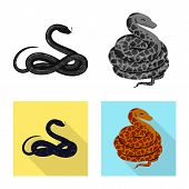 Vector Design Of Mammal And Danger Symbol. Collection Of Mammal And Medicine Vector Icon For Stock. poster