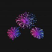 Vector Neon Gradient Firework Explosion Illustration Isolated On Dark Background, Ultraviolet Light, poster