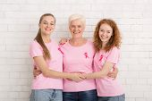 Breast Cancer Concept. Three Happy Women Of Diverse Age Wearing Pink Ribbon T-shirts Hugging Over Wh poster