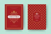 Christmas Greeting Card Vintage Typographic Design, Ornate Decorations With Symbols, Winter Holidays poster
