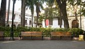 foto of bolivar  - Bolivar Park benches trees by Museum of History Palace of the Inquistion Cartagena de Indias Colombia South America - JPG