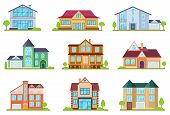 Flat Cottages. Modern Cottage Houses Suburban Property. Buildings Design For App Interface. Architec poster