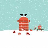Santa Stucks In Chimney On Roof Snow Turquoise poster