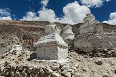 Chortens (Tibetan Buddhism stupas) in Himalayas. Nubra valley, Ladakh, India poster