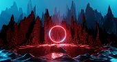 Sci Fi Alien Planet Landscape Futuristic Rock Surreal Lighting Space Travel Glow Ring Red Neon Light poster