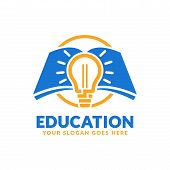 Education Logo Design Template, Book And Bulb Icon Stylized poster