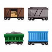 Vector Illustration Of Railway And Carriage Sign. Collection Of Railway And Transport Vector Icon Fo poster