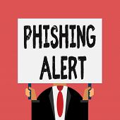 Word Writing Text Phishing Alert. Business Concept For Aware To Fraudulent Attempt To Obtain Sensiti poster