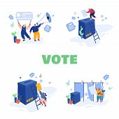 Voting And Election Concept Template Design. Pre-election Campaign. Promotion Of People Candidate Ch poster