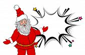 Funny Old Santa Show Speech Bubble Pop Art Style. Retro Christmas Party Greeting Card. Comic Book Te poster