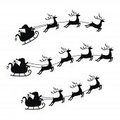 Collection Sleigh With Bag Of Gifts And Reindeers, Sled Of Santa Claus. Christmas Element With Cute  poster