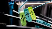 Clothes Peg Clip On The Cloth Hanger With Laundries Drying At Background. poster