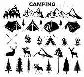 Travel Event. Camping Vector Logo Template For Your Design. Tourist Tent, Forest, Camp, Trees, Camp  poster