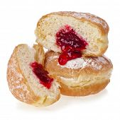 Donut with jam on white background