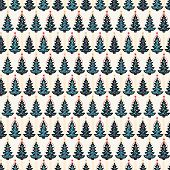 Seamless Pattern. Hand Drawn Snow Star Christmas Tree. Star Fir Forest Stripes Background. Tradition poster