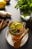 Glass Cup Of Ginger Tea With Lemons And Mint Leaves On Dark Background. Ginger Tea, Drink Ingredient poster