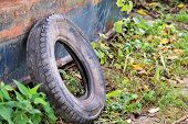 Used Car Tire Left In Nature. Old Used Car Tyre Left Tossed By Cost Of Water. The Problem Of Trash O poster