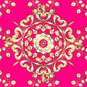Golden Element On Beige And Magenta Colors. Vintage Baroque Floral Seamless Pattern In Gold Over Bei poster