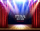 A Theater Stage With A Red Curtain And A Spotlight. Festival Night Show Background. Vector. poster