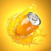Orange juice or soda can with orange splash on orange background. 3d illustration poster