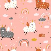 Seamless Childish Pattern With Funny Llama Unicorns, Rainbows, Clouds. Creative Kids Texture For Fab poster
