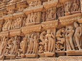 Erotic Human Sculptures At Vishvanatha Temple, Western Temples Of Khajuraho, Madhya Pradesh, India.  poster