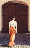 Girl Makeup Face Fashion Trend Matching Clothes. High Waisted Trousers Keep Returning To Catwalk. Fa poster