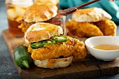 Breakfast Biscuit Sandwiches With Fried Chicken, Traditional Southern Food poster